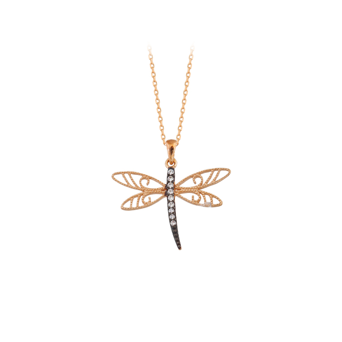 Women's Gemmed Dragonfly Pendant 14 Carat Gold Necklace