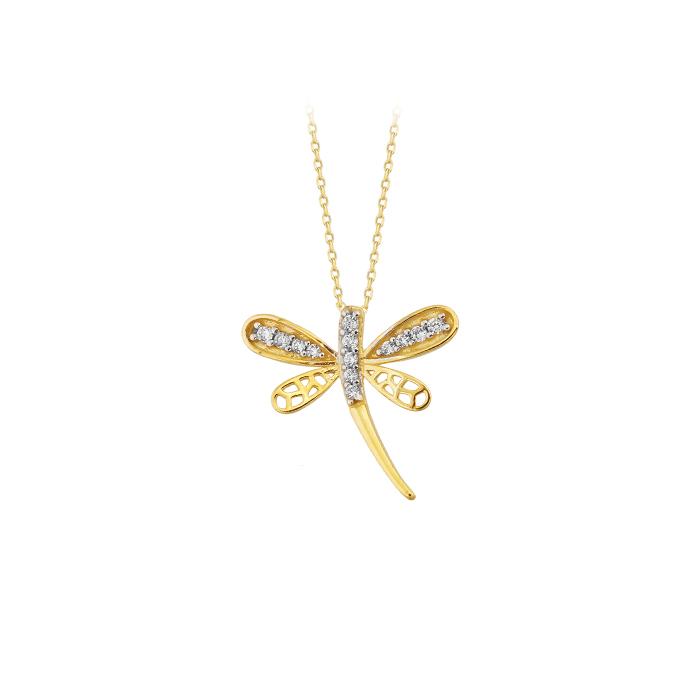 Gemmed Dragonfly Pendant 14k Gold Necklace
