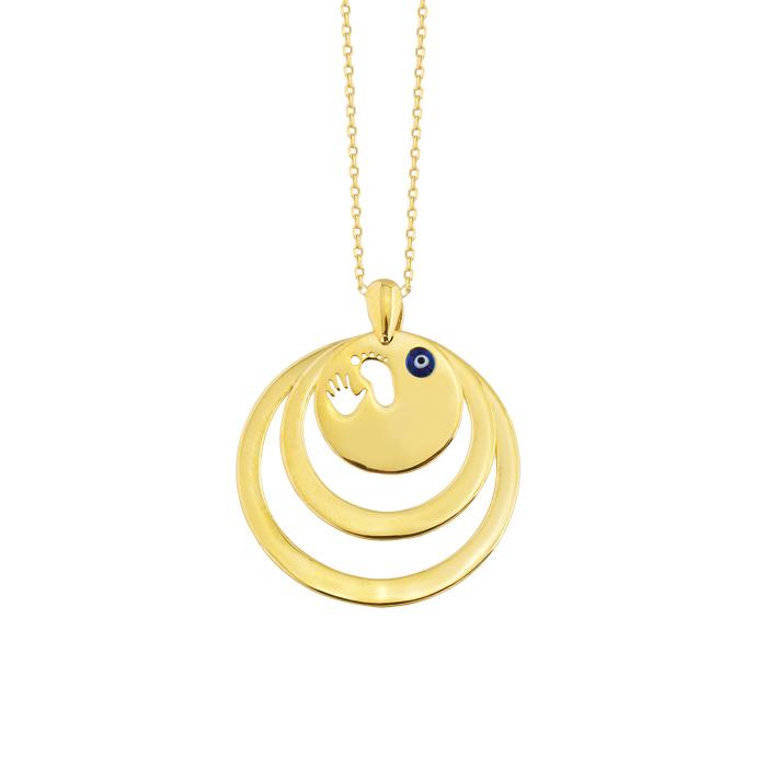 Women's Circle Pendant 14 Carat Gold Necklace