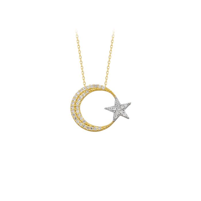 Women's Gemmed Crescent Star Pendant 14k Gold Necklace