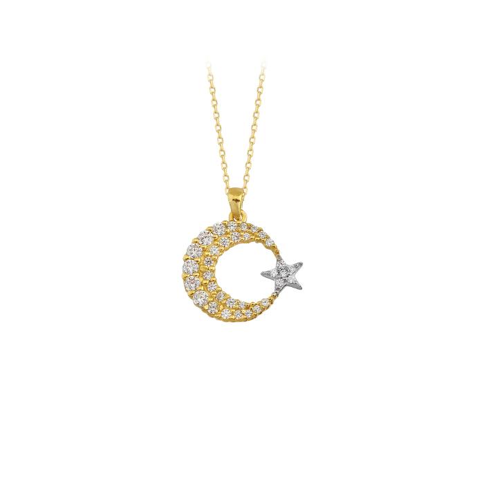 Gemmed Crescent Star Pendant 14 Carat Gold Necklace