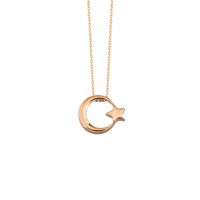 Crescent Star Pendant 14 Carat Gold Necklace