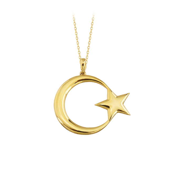 Crescent Star Pendant 14k Gold Necklace