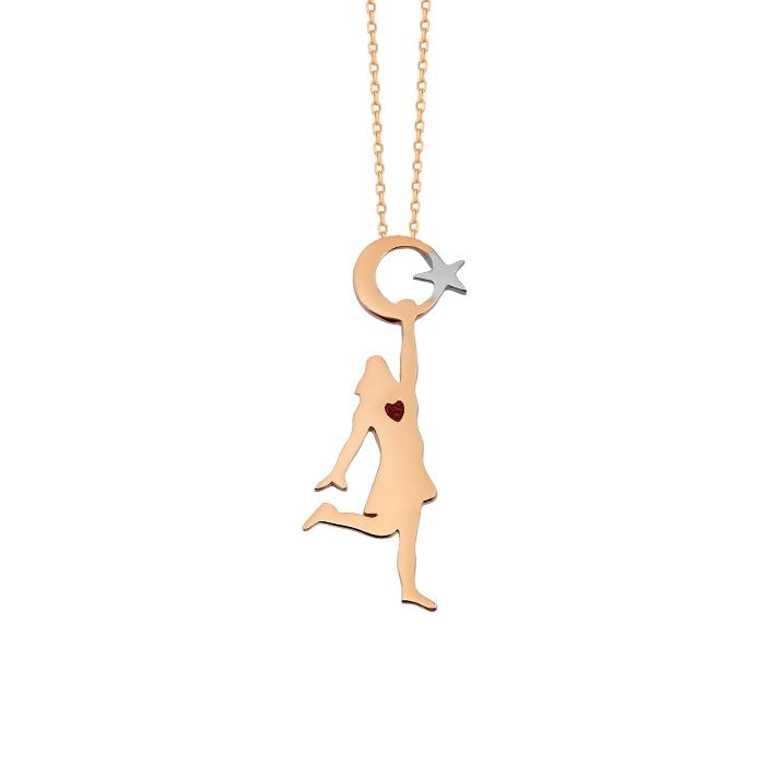Gemmed Crescent Star Pendant 14k Gold Necklace