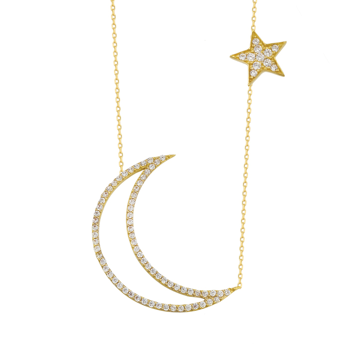 Women's 14k Gold Crescent Star Pendant Necklace