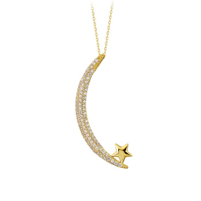 Women's Gemmed Moon Star Pendant 14 Carat Gold Necklace