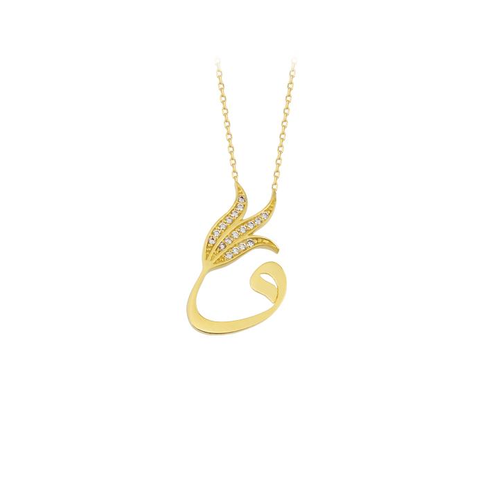 Women's Gemmed Vav Pendant 14 Carat Gold Necklace