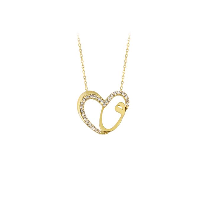 Women's Gemmed Heart Pendant 14 Carat Gold Necklace