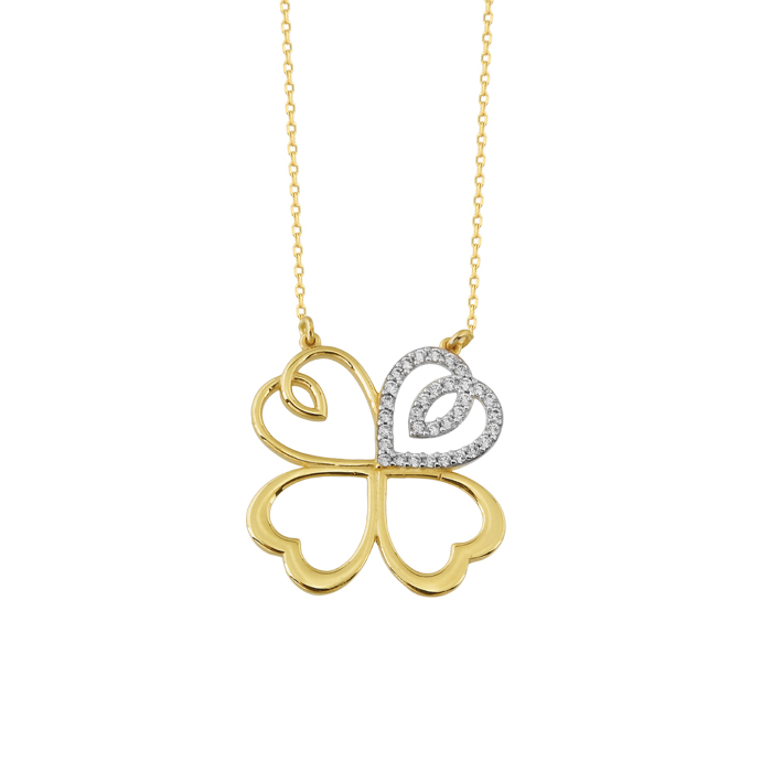 Women's Gemmed Clover Pendant 14 Carat Gold Necklace