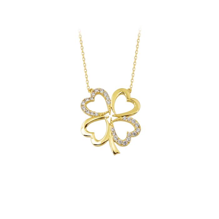 Women's Gemmed Clover Pendant 14k Gold Necklace