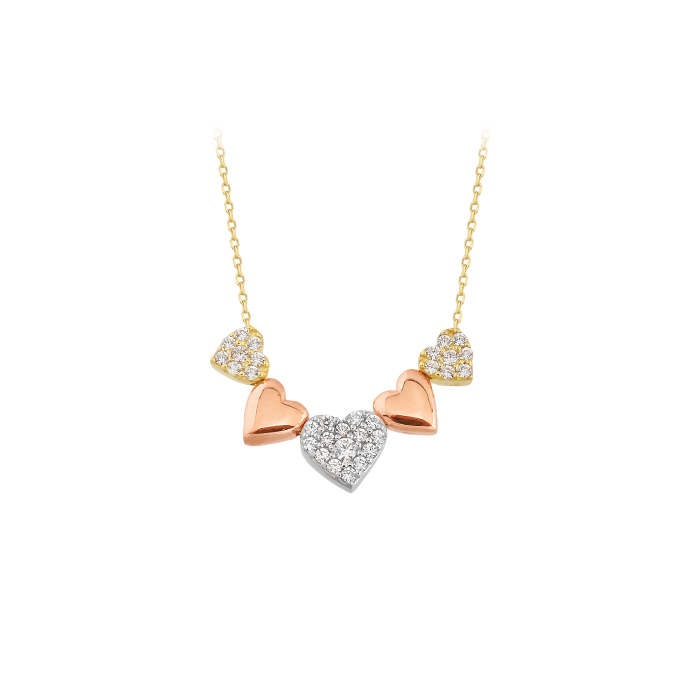 Gemmed Heart Pendant 14k Gold Necklace