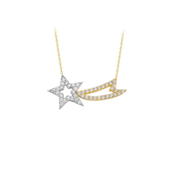 Women's Gemmed Star Pendant 14 Carat Gold Necklace