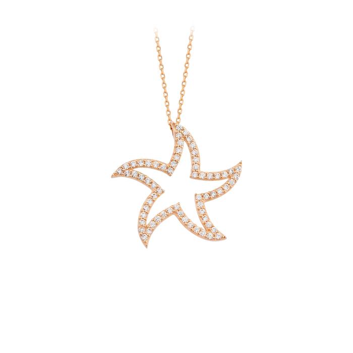 Gemmed Star Pendant 14 Carat Gold Necklace