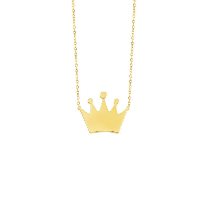 Crown Pendant 14 Carat Gold Necklace