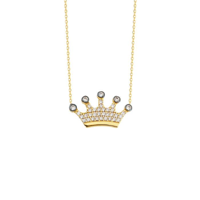 Gemmed Crown Pendant 14k Gold Necklace