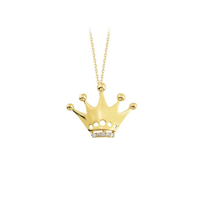 Women's 14k Gold Gemmed Crown Pendant Necklace