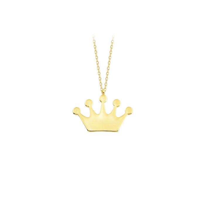 Crown Pendant 14k Gold Necklace
