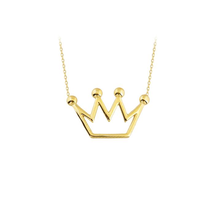 Women's Crown Pendant 14k Gold Necklace