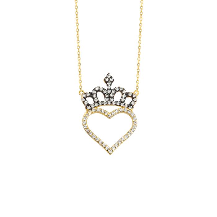 Gemmed Heart Crown Pendant 14 Carat Gold Necklace