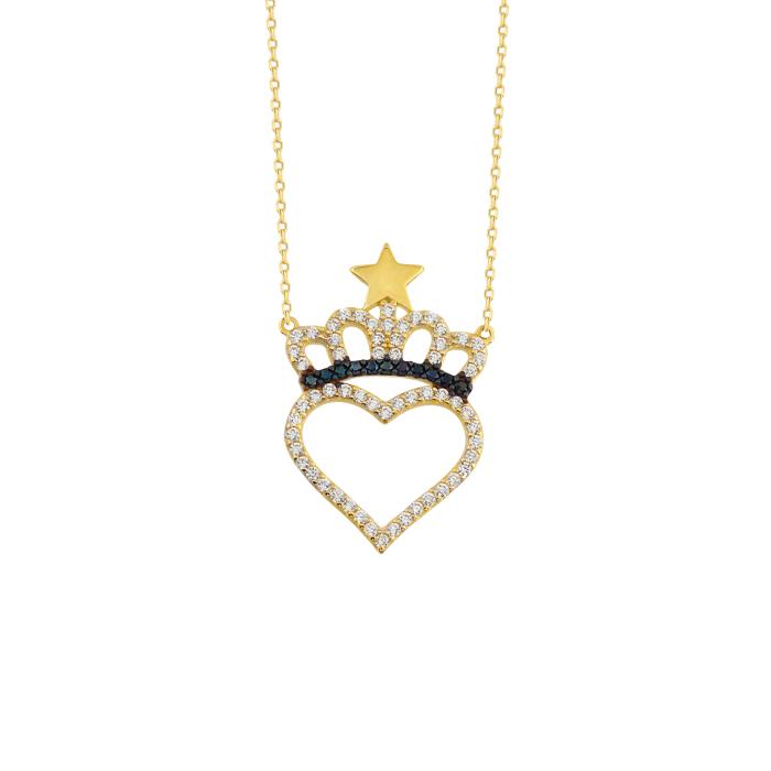 Gemmed Crown & Heart Pendant 14k Gold Necklace