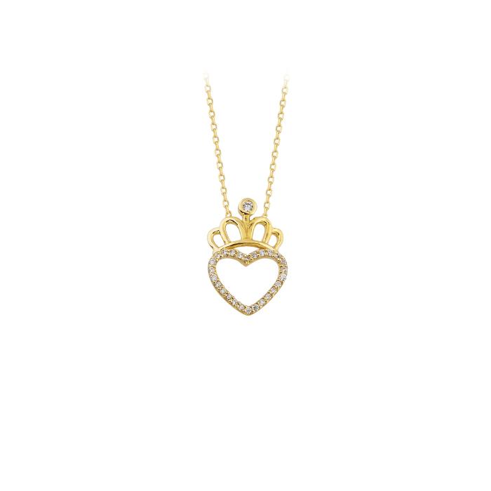 Women's Gemmed Crown Pendant 14 Carat Gold Necklace