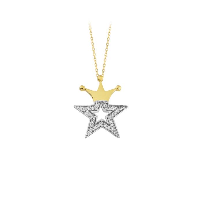 Gemmed Crown Pendant 14 Carat Gold Necklace