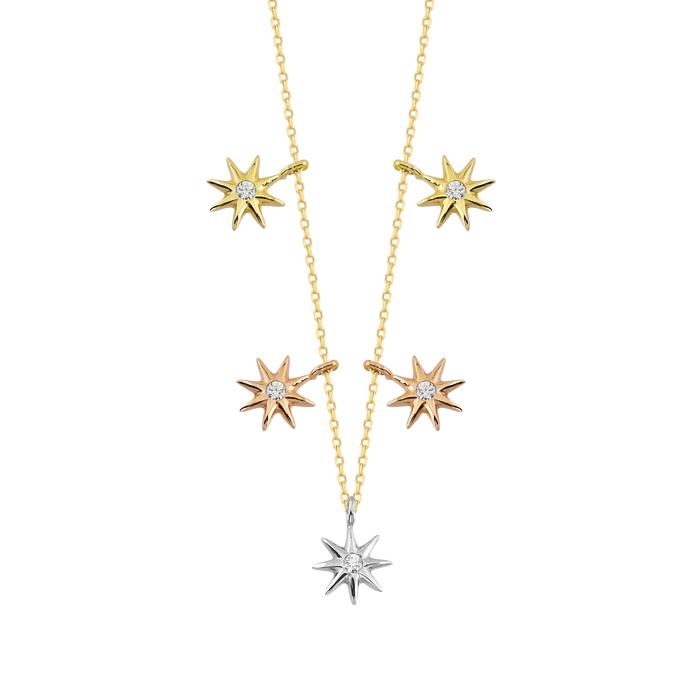 Women's 14k Gold Gemmed Sun Pendant Necklace