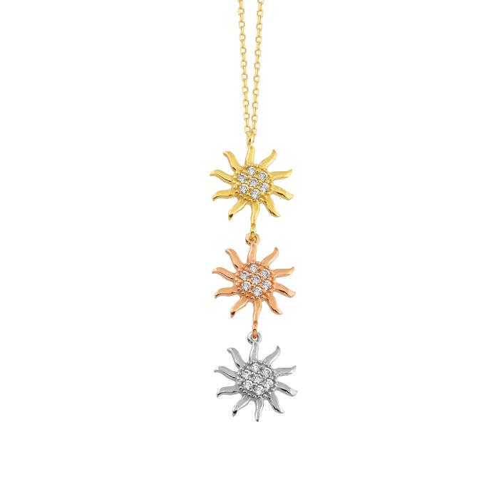 Women's Gemmed Sun Pendant 14 Carat Gold Necklace