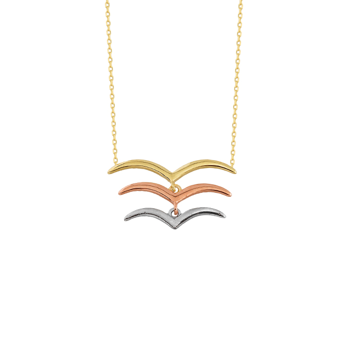 Gull Pendant 14 Carat Gold Necklace
