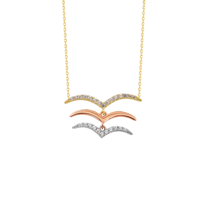 Women's Gemmed Seagull Pendant 14k Gold Necklace