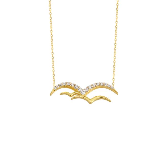 Gemmed Seagull Pendant 14k Gold Necklace