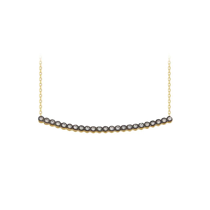 Women's Gemmed Stick Pendant 14k Gold Necklace
