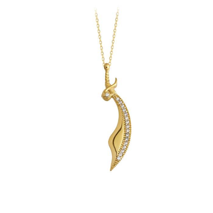 Gemmed Sword Pendant 14k Gold Necklace