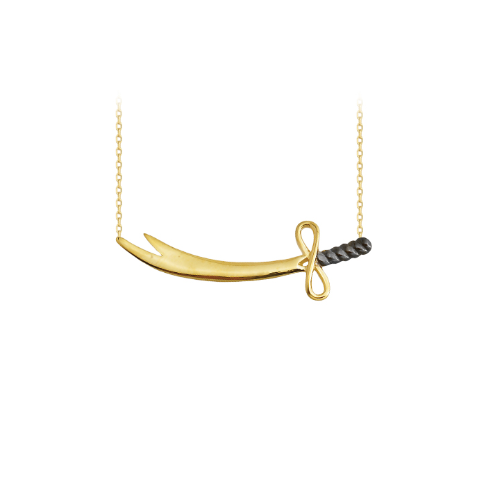 Women's Sword Pendant 14 Carat Gold Necklace