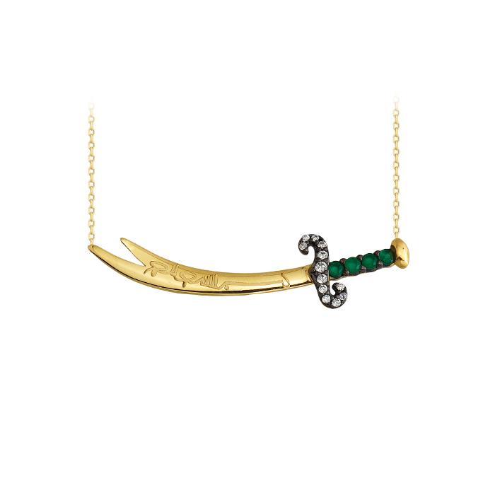 Women's Gemmed Sword Pendant 14 Carat Gold Necklace