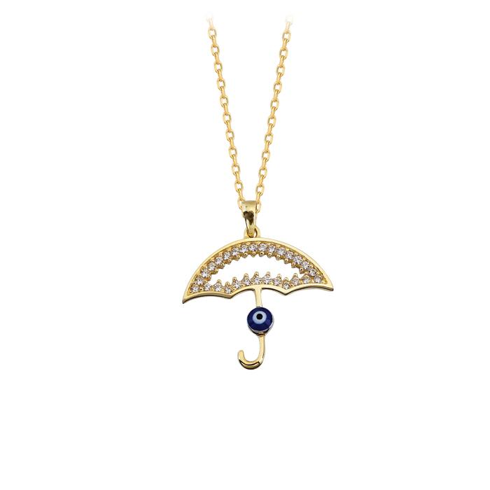Women's Gemmed Umbrella Pendant 14 Carat Gold Necklace