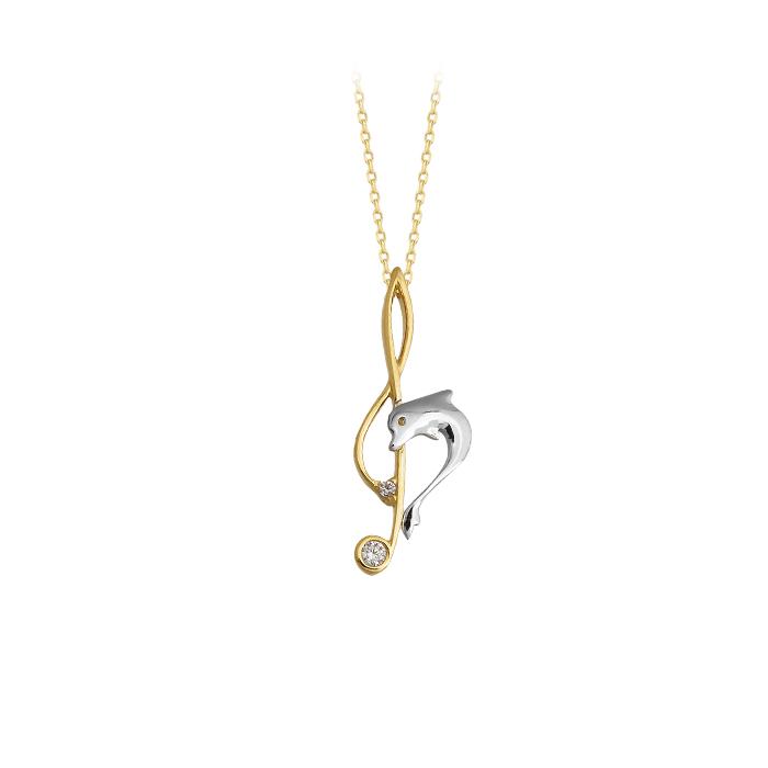 Women's Gemmed Key Pendant 14 Carat Gold Necklace