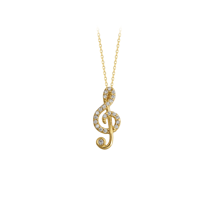 Women's Gemmed Key Pendant 14 Carat Gold Necklace