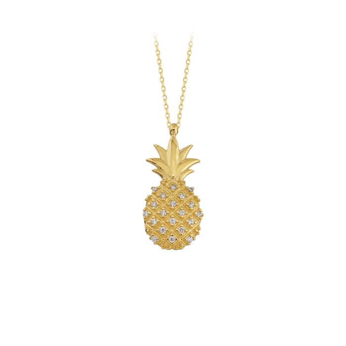 Gemmed Pineapple Pendant 14k Gold Necklace
