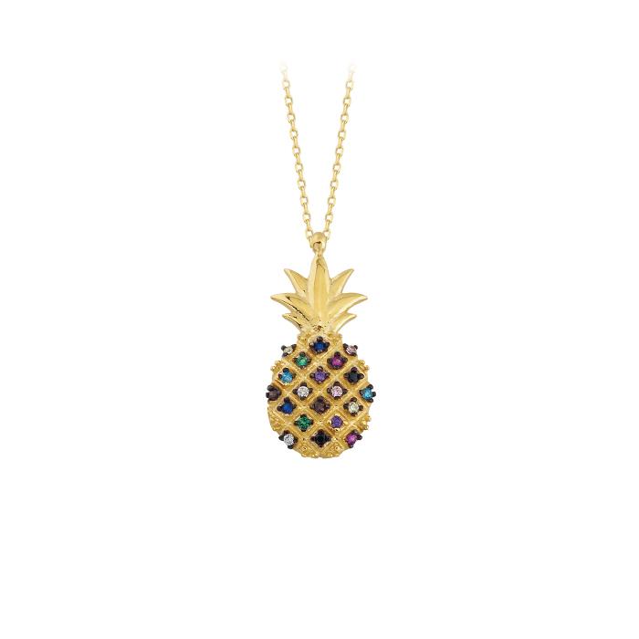Women's Gemmed Pineapple Pendant 14 Carat Gold Necklace