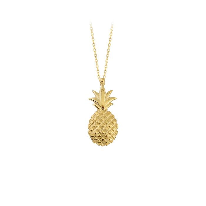 Women's Pineapple Pendant 14 Carat Gold Necklace