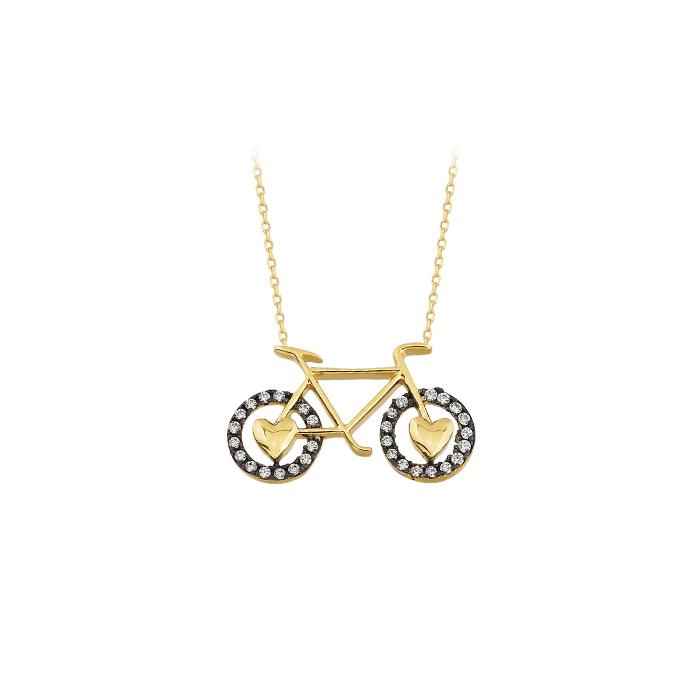 Women's Gemmed Bicycle Pendant 14 Carat Gold Necklace