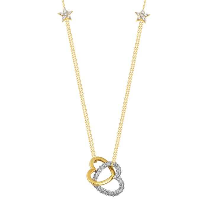 Women's Gemmed Heart Pendant 14k Gold Necklace
