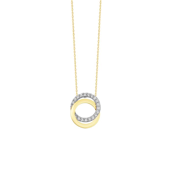 Women's Gemmed Circle Pendant 14 Carat Gold Necklace