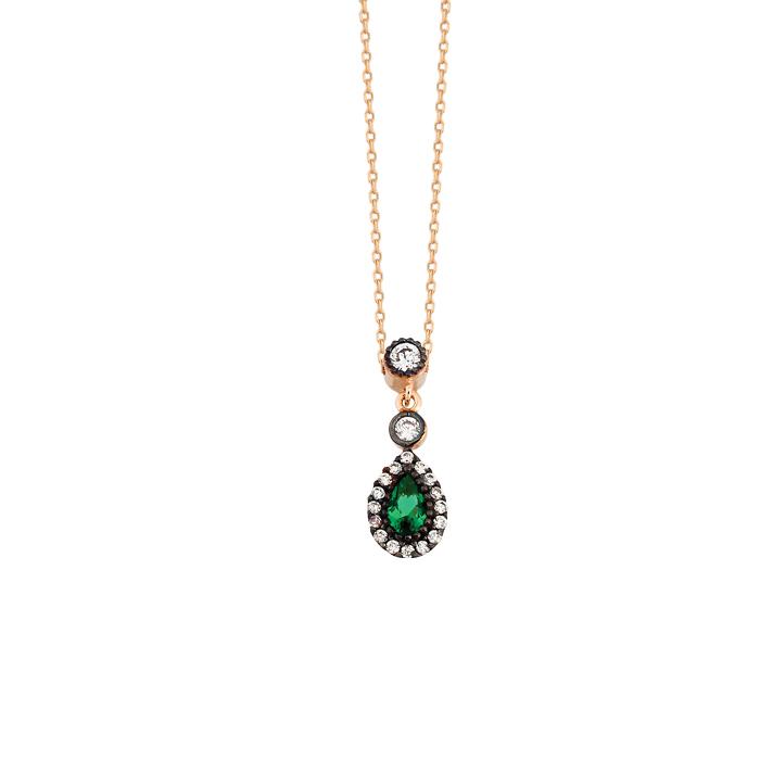 Drop Gemmed 14 Carat Gold Necklace
