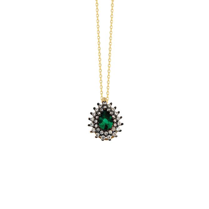 Women's Drop Gemmed 14 Carat Gold Necklace