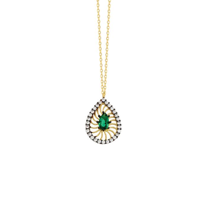 Drop Gemmed 14k Gold Necklace