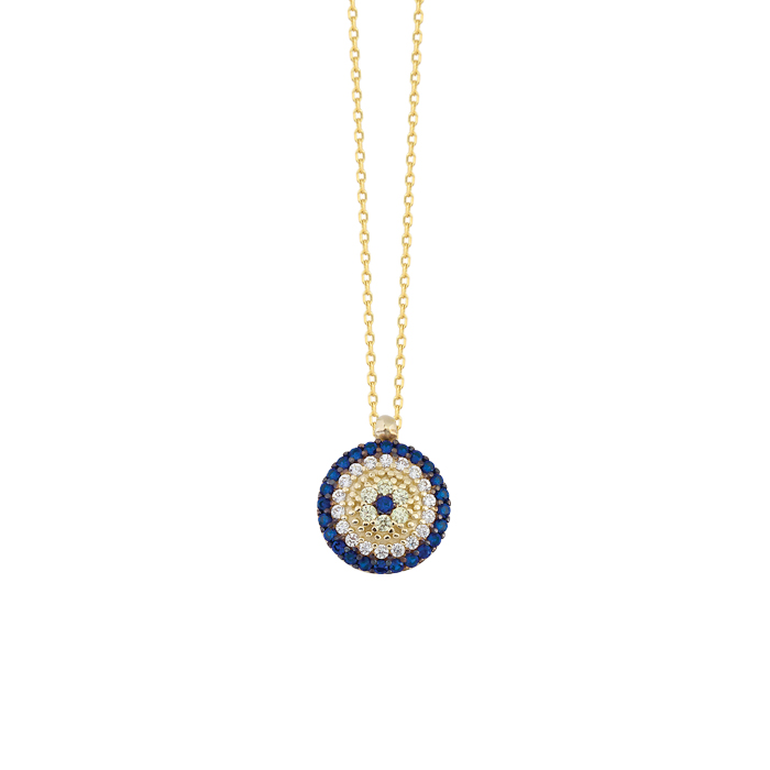 Women's Gemmed Evil Eye Pendant 14 Carat Gold Necklace