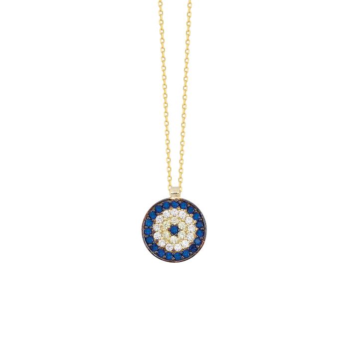 Gemmed Evil Eye Pendant 14 Carat Gold Necklace