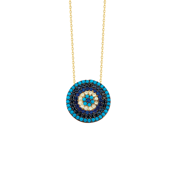 Women's Gemmed Evil Eye Pendant 14 Carat Gold Necklace